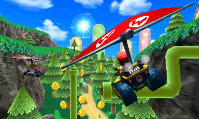 Mario hang-gliding amidst the trees and pipes.